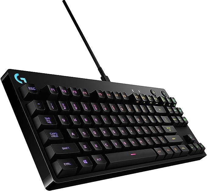 Logitech G Pro Teclado mecánico para juegos, 16,8 millones de colores RGB teclas retroiluminadas, diseño ultraportátil, cable micro USB desmontable ...