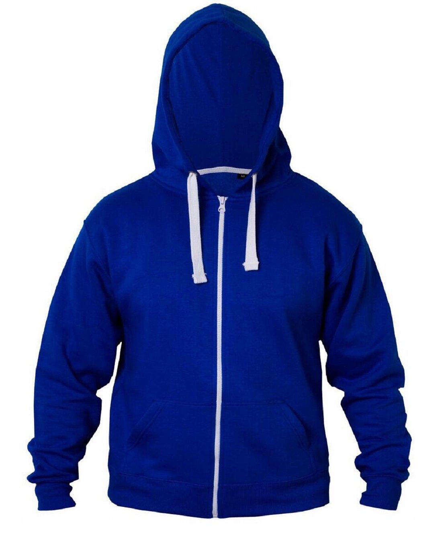 ZJ FASHIONS Kids Girls & Boys Plain Fleece Hoodie Zip up Zipper (13, Royal Blue)