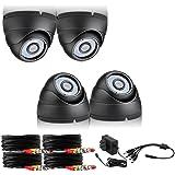 Funlux 700TVL HD Video Surveillance 4 Pack Dome IP65 Outdoor / Indoor 20m Night Vision Surveillance Camera