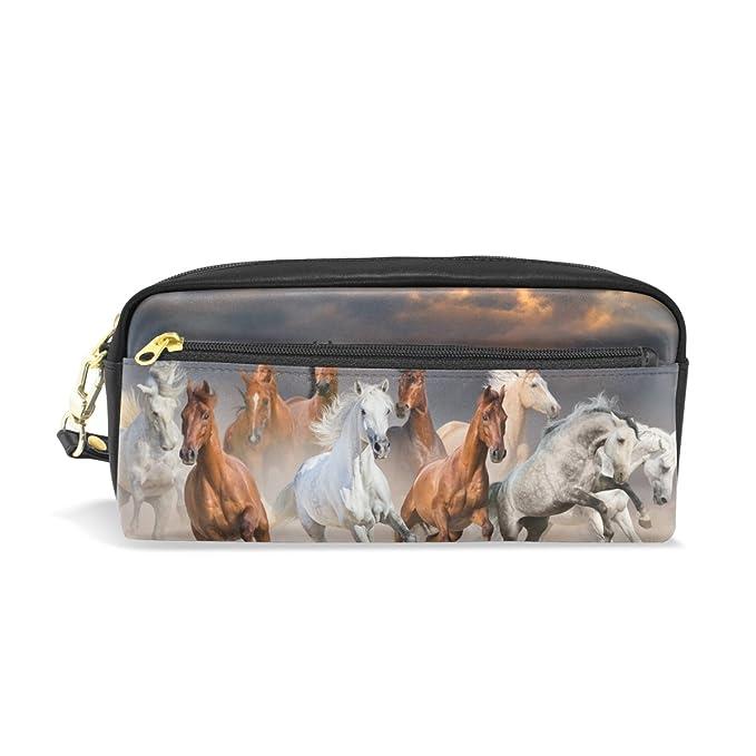 72d3a7ff27 ALAZA corsa cavalli di matita zipper PU penna borsa cosmetici trucco penna  cancelleria sacchetto di grande capacità: Amazon.it: Cancelleria e prodotti  per ...
