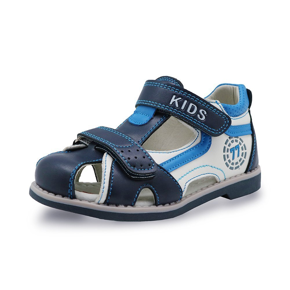 HMei Boys Adjustable Strap Outdoor Closes-Toe Breathable Summer Sandals White/Blue 10M US Toddler