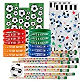 Soccer Party Favors for 24 - Soccer Pencils (24), Soccer Wrist Bands (24), Soccer Sticker Sheets (24), Soccer Theme Gift Bags (24) and Happy Birthday Sticker (Total 97 Pieces) (clear bag)