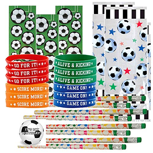 Soccer Party Favors for 24 - Soccer Pencils (24), Soccer Wrist Bands (24), Soccer Sticker Sheets (24), Soccer Theme Gift Bags (24) and Happy Birthday Sticker (Total 97 Pieces) (Clear -