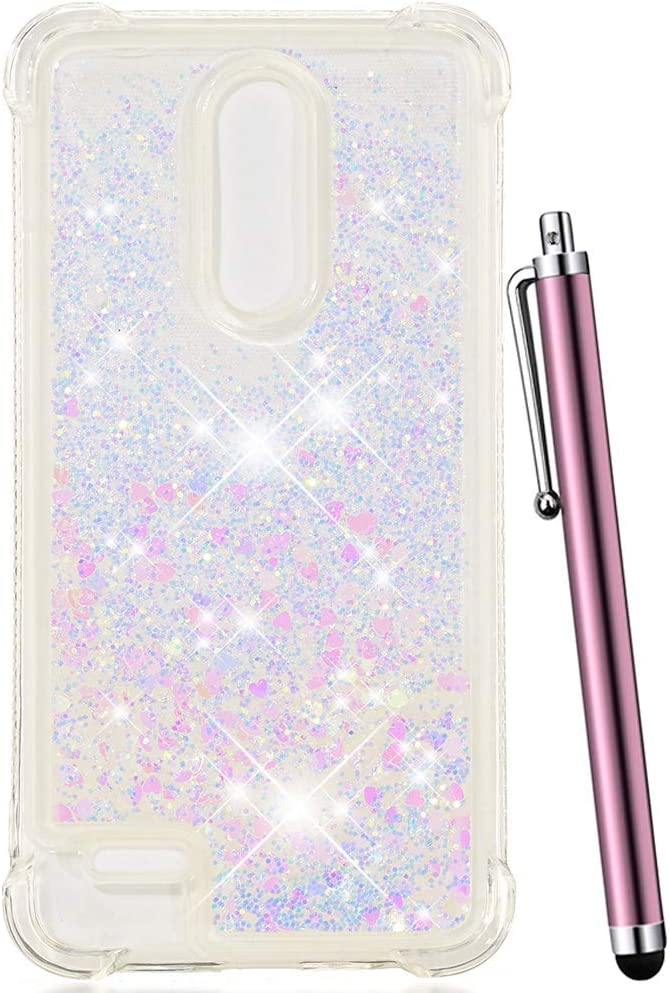 CAIYUNL Glitter Quicksand Liquid Floating Sparkle Bling Clear TPU Protective Luxury Case Shockproof Cover for LG K30 Case/LG Phoenix Plus/LG Premier Pro LTE/LG Harmony 2 /LG K10 2018-Sliver/Pink