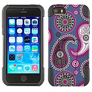 Apple iPhone 5 Hybrid Case Paisley Pink Black on Cyan Blue 2 Piece Style Silicone Case Cover with Stand for Apple iPhone 5 and 5S