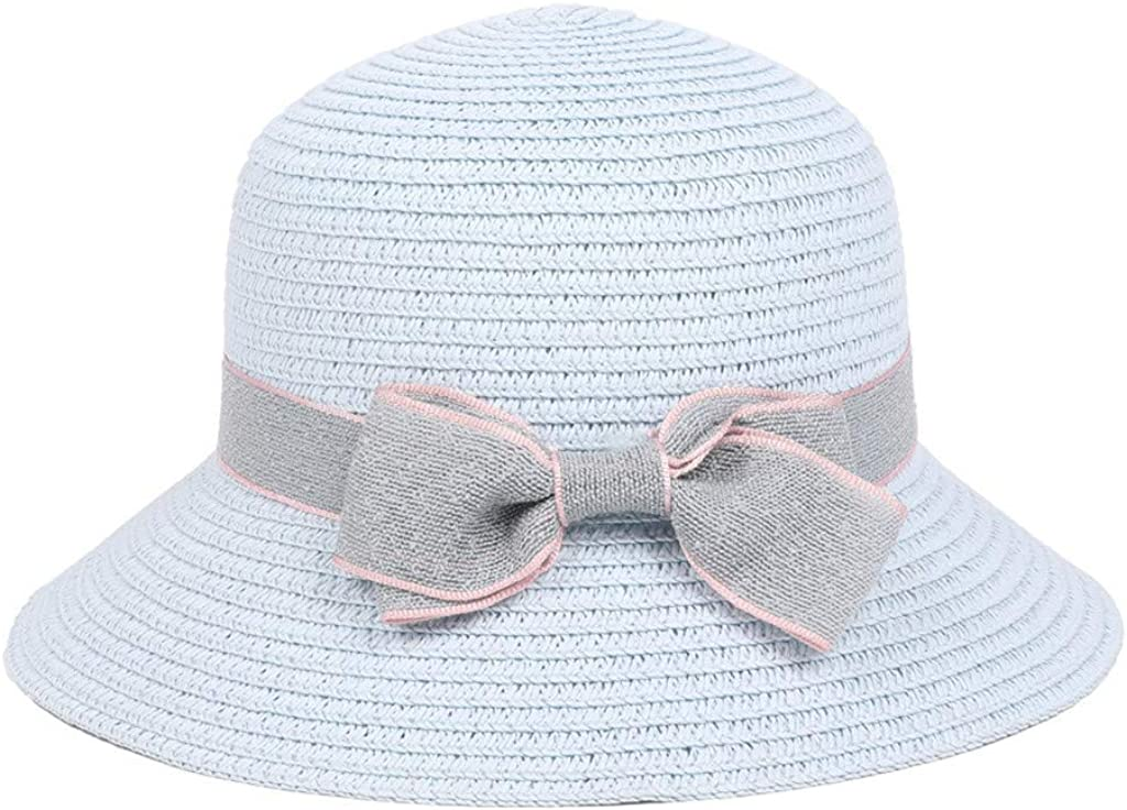 Alimao 5-8 Years Old Kids Summer Straw Hat,Bowknot Beach Sun Protection Hats for Girls,Travel Hats
