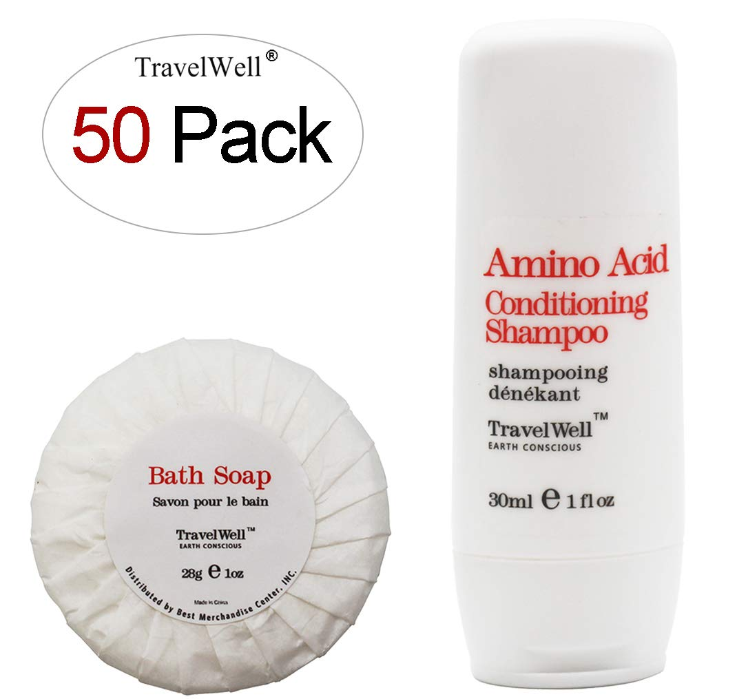 TRAVELWELL Hotel Shampoo and Soap Bulk Individually Wrapped 30ml Shampoo & Conditioner 2 in 1, 50 Bottles + Round Tissue Pleated 28g Cleaning Travel Soap In Bulk, 50 Bars
