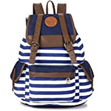 Rbenxia Canvas Backpack School Bag Stripe School College Bag for Teens Students Unisex