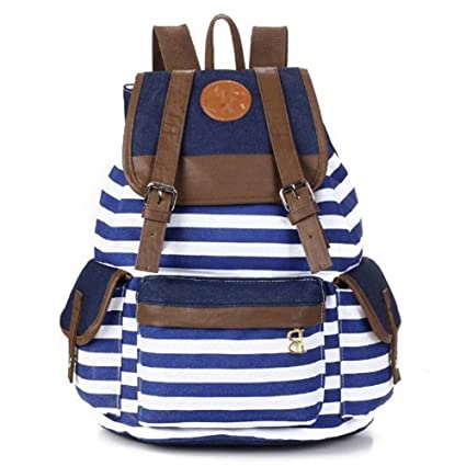 31608092df5e Rbenxia Canvas Backpack School Bag Stripe School College Bag for Teens  Students Unisex Shoulder Daypack Handbag