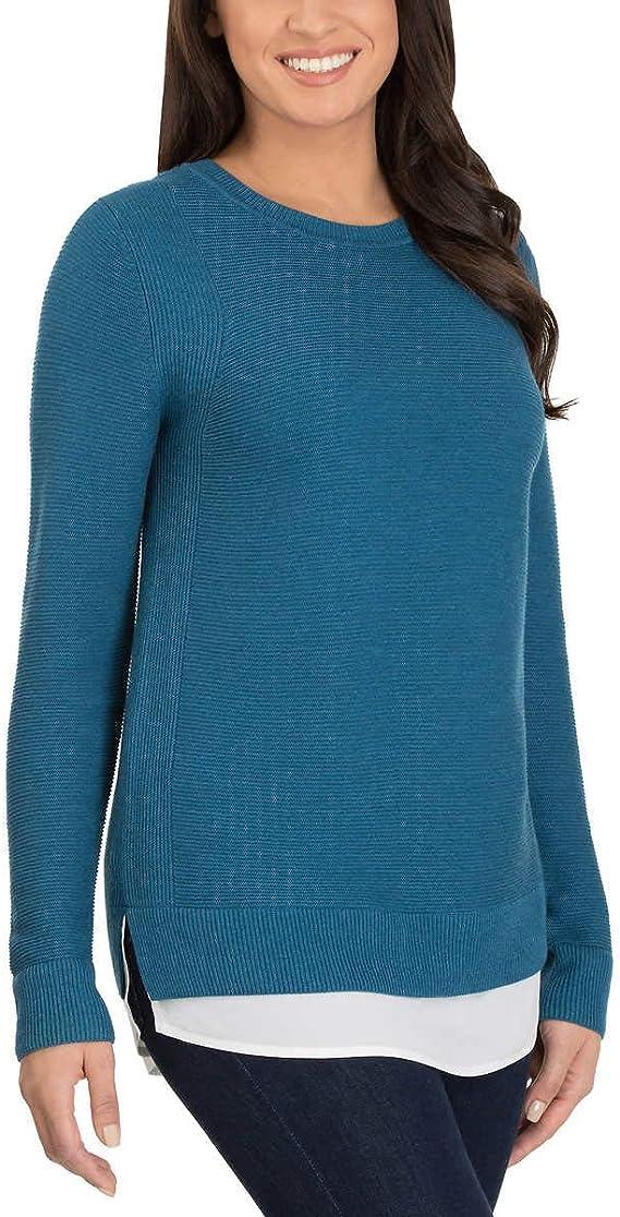 Hilary Radley Ladies/' S Crew Neck Ribbed Long Sleeve Sweater New Heather Sand M