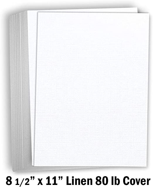 50 Pack Hamilco 5x7 White Linen Cardstock Paper Blank Index Cards Card Stock 80lb Cover