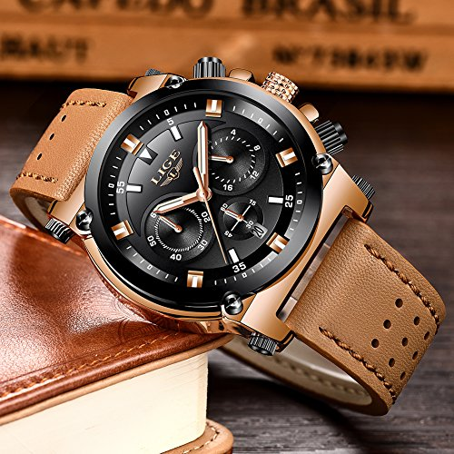 7fc528502a47 Relojes Hombre Reloj de Pulsera de Cuero Reloj Elegante Analógico de Cuarzo  Cronógrafo Reloj Deportivo Militar Negocios Multifuncional Impermeable para  ...