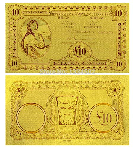 Cacys-Store - Gold Foil Banknote Ireland 10 Pounds Word Currency Gold Banknote For Home Decoration High in quality