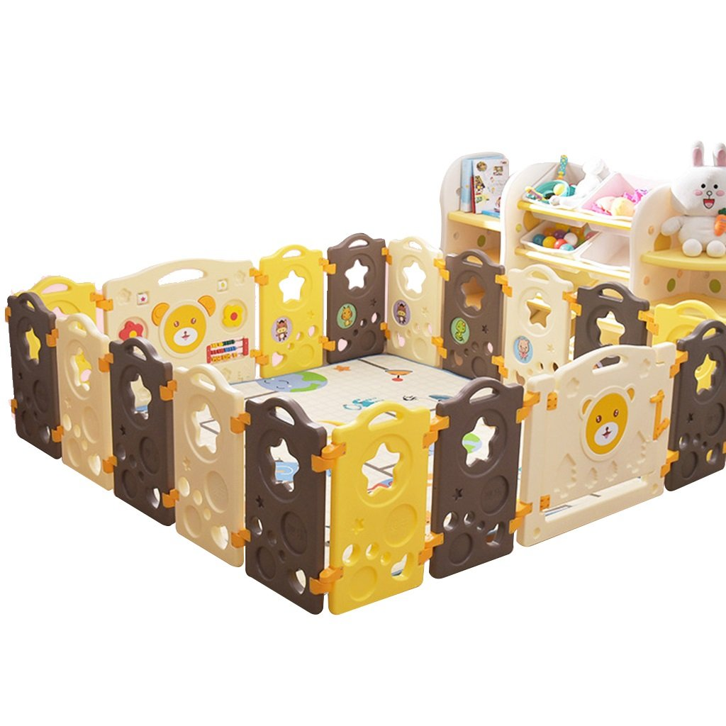 ベビーケア子供の屋内プレイフェンスベビーベビー幼児クロールフェンスホーム安全遊び場 (Color : Brown, Size : 187.5 * 150cm) 187.5*150cm Brown B07HGZQW37
