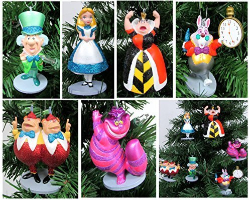(Alice in Wonderland 6 Piece Christmas Tree Ornament Set Featuring Alice, White Rabbit, Cheshire Cat, Queen of Hearts, Mad Hatter, and Tweedle Dum & Tweedle Dee - Shatterproof Design 3