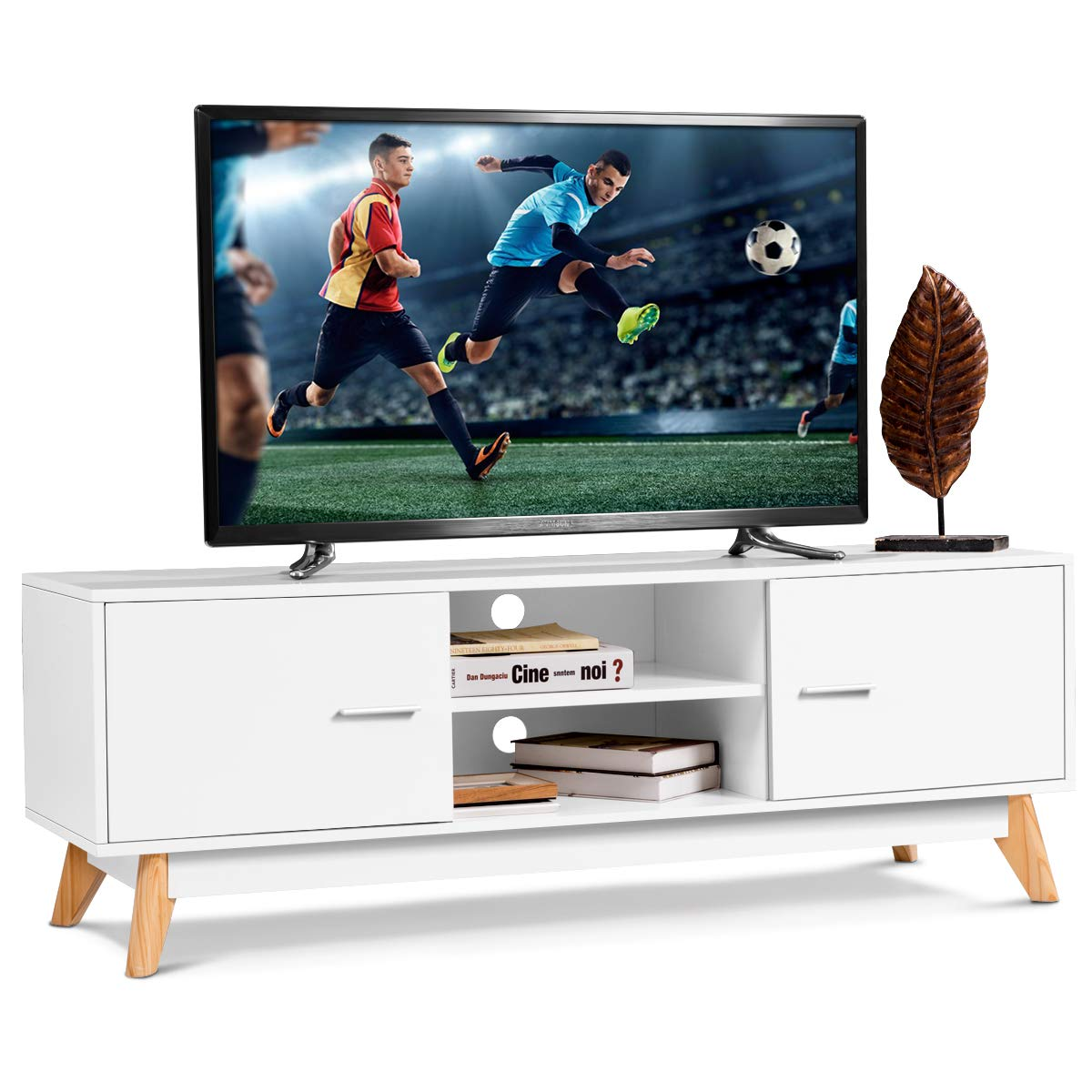 Tangkula Modern White TV Stand, Wooden TV Stand for 60 Inch TV, with 2 Storage Cabinets 2 Open Shelves, for Home Living Room Furniture, Wood TV Stand