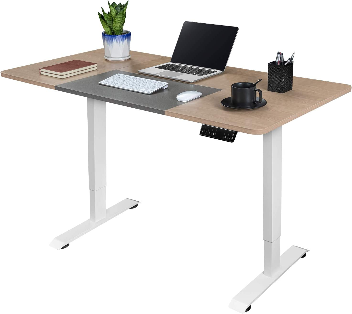 Greesum 55 Inch Electric Height Adjustable Home Office Standing Desk, Modern Design Spacious Computer Table for Healthy Working, Beige