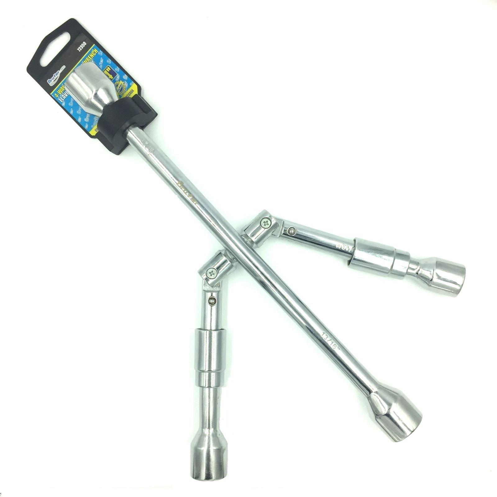 BRUFER 72350 4-Way Folding Lug Wrench 14''
