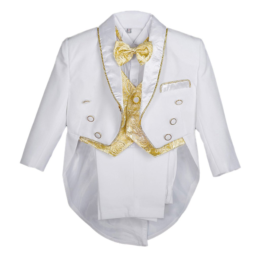 Dressy Daisy Boys Classic Tuxedo Suit 5 Pcs Set Jacquard Formal Suits Wedding Outfit Size 3-4T White