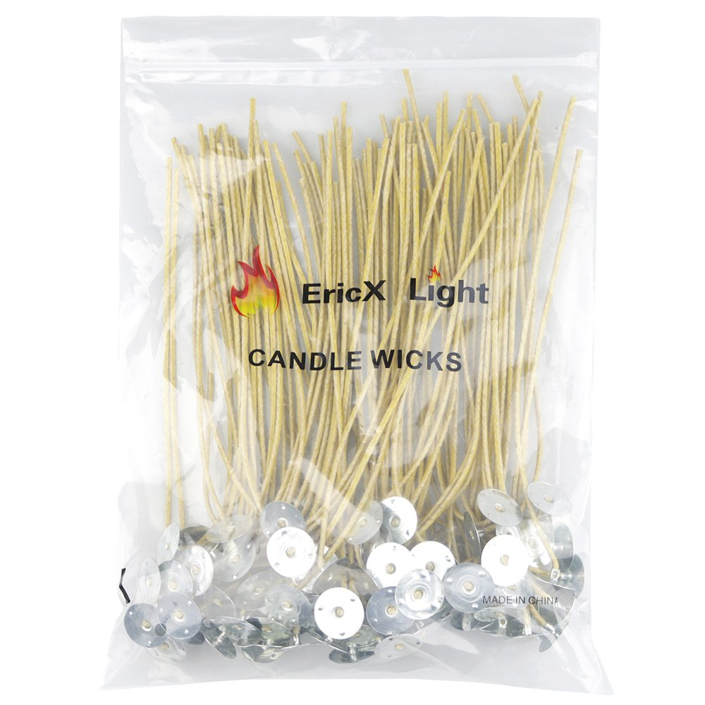 "EricX Light Organic Hemp Candle Wicks, 100 Piece 8"" Pre-Waxed by 100% Beeswax & Tabbed, for Candle Making"