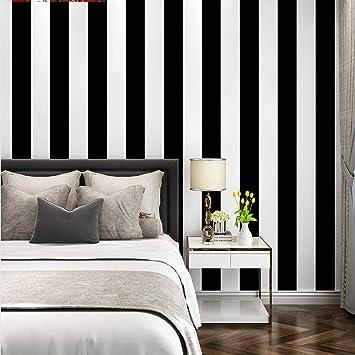 ZHAORLL Papier Peint Rayé Minimaliste Moderne Noir Et Blanc Chambre à  Coucher Salle à Manger Salon