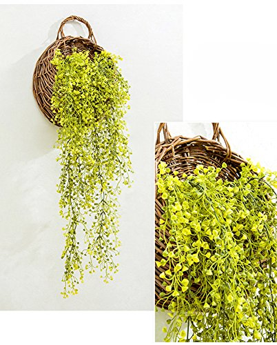 Mkono Wall Hanging Basket with Decorative Artificial Plant Vine for Home Garden Wedding Decor, Yellow by Mkono (Image #3)