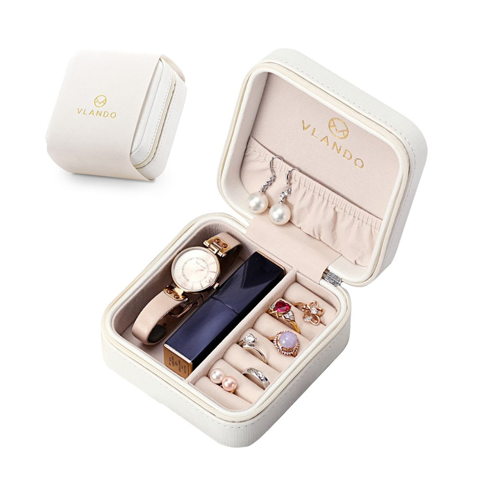 Vlando Small Faux Leather Travel Jewelry Box Organizer Display Storage Case for Rings Earrings Necklace (White)