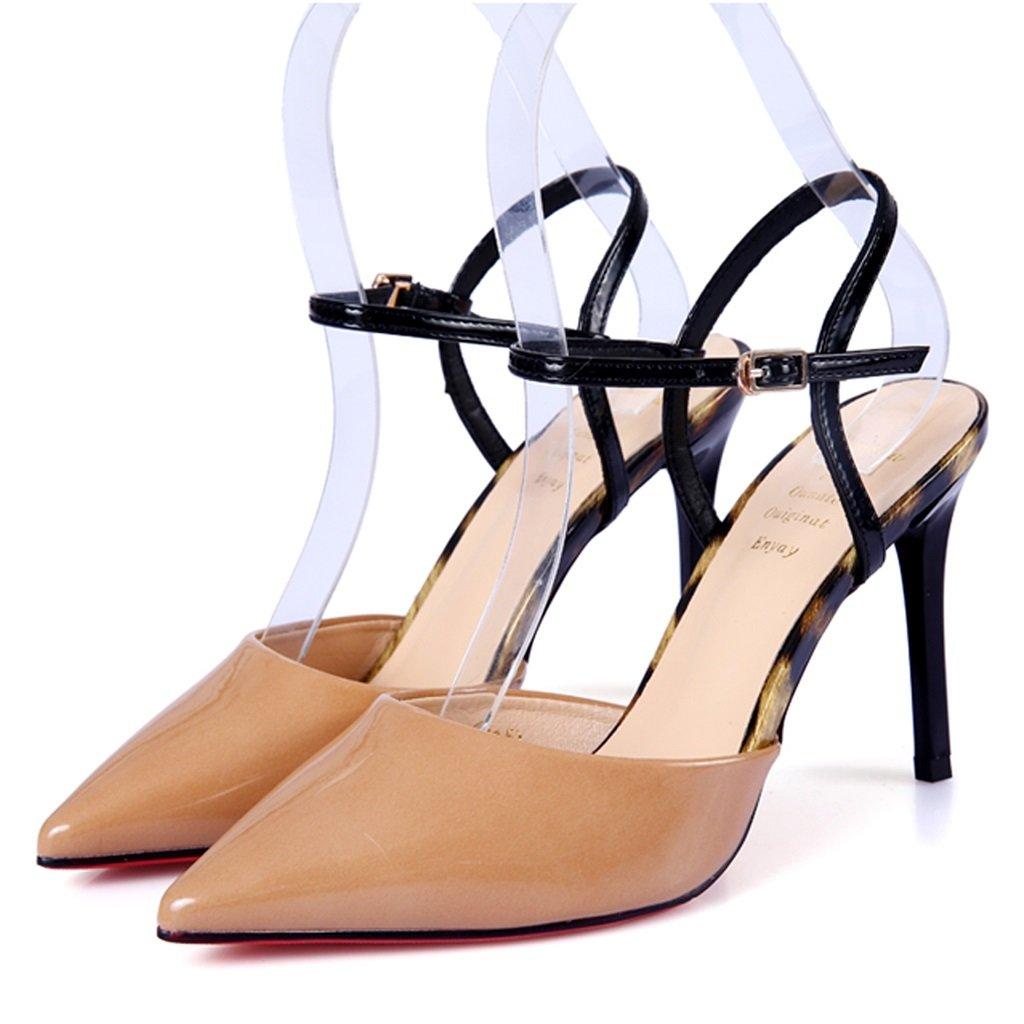 Gbf Stöckelschuhe Feine Stöckelschuhe Damenschuhe mit Spitzer Kappe Hochhackige Schnallenschuhe mit Hohen Absätzen Mode-Damenschuhe Hochhackige Fashion-Sandalen (Farbe   Orange Größe   35)