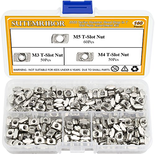 - Sutemribor 160 Pcs 2020 Series T Nuts, M3 M4 M5 T Slot Nut Hammer Head Fastener Nut for Aluminum Profile