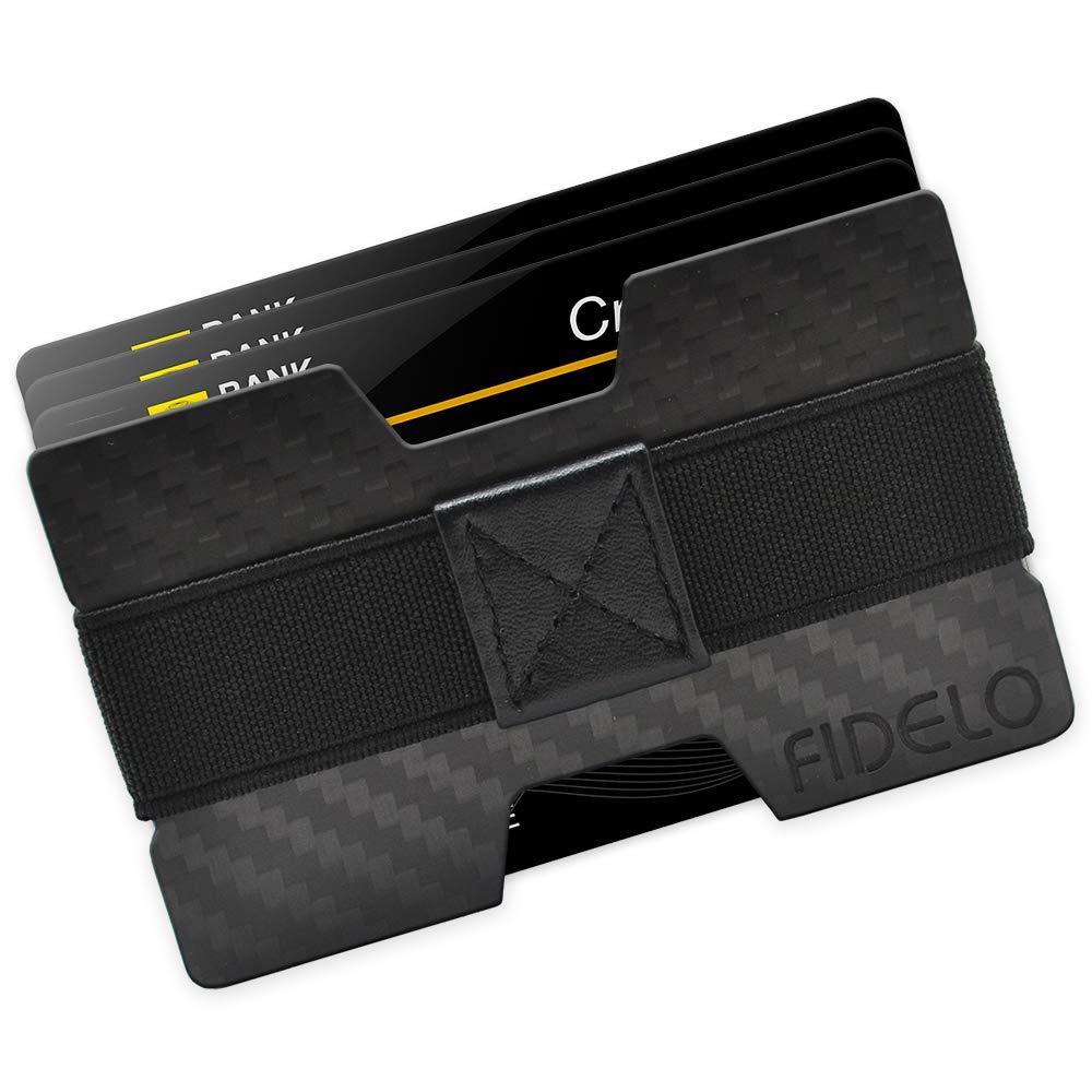 FIDELO Carbon FIber Minimalist Wallet - Mens Slim Wallet Credit Card Holder Money Clip with 4 Cash Bands - Front Pocket RFID Wallets for Men