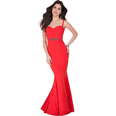Terani Couture Embellished Cross Back Formal Dress Red 8 At Amazon