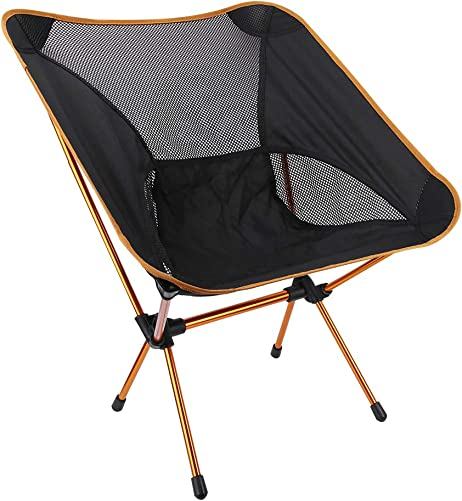 Outdoor Camping Chair, Portable Folding Camp Backpacking Chair with Carrying Bag for Outdoor Camping Hiking Fishing BBQ Beach Picnic Festival Travel – Orange