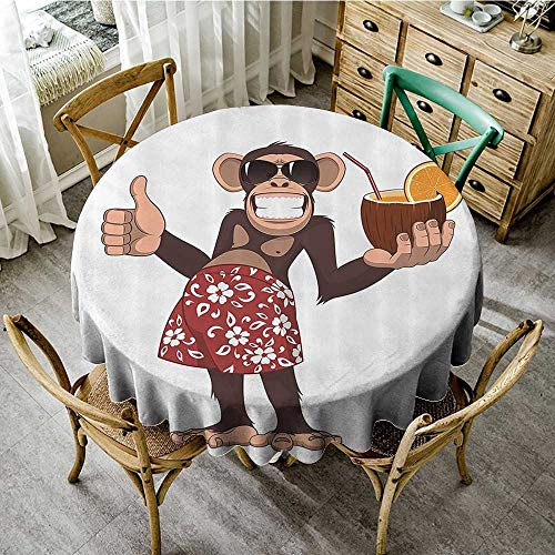 familytaste Print Tablecloth Waterproof Cartoon Decor Collection,Happy Chimpanzee Holding a Cocktail and Smiling Giggle Ape Cheerful Comic Art,Brown Orange Red D 50