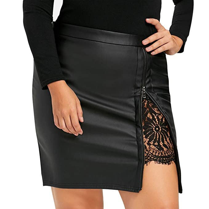 Kolylong® Rock Damen Frauen Elegant Spitze Rock PU Leder Elegant Hohe Taille  Midirock Party Jersey f3876b7f00