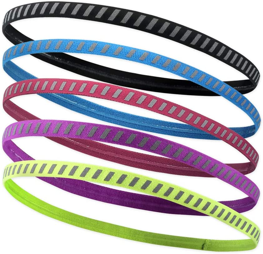 5 Pack Reflective Thin Swoosh Sport Workout Hair Bands for Women and Men Athletic Sports Headbands for Women and Youth Girls No Slip Headbands for Women Elastic Head Bands with No Slip Grip