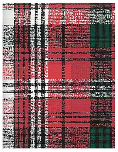 Newbridge Burke Tartan Red and Green Plaid Christmas Print Vinyl Flannel Backed Tablecloth, Classic Holiday Tartan Plaid Xmas Tablecloth, (52 Inch x 70 Inch Oblong/Rectangle)]()