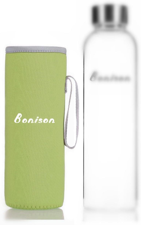 BONISONナイロンスリーブColoful Assortment保護汗吸収断熱材Carryingホウケイ酸ガラスボトルホルダーピンク、ブルー、ブラック、グレー、ライムグリーン) グリーン