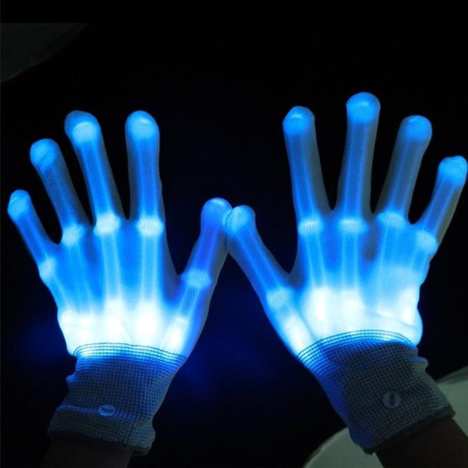 Guantes luminosos de color azul para disfraz