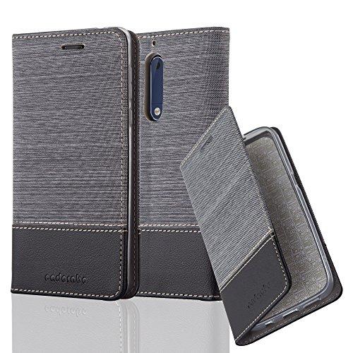 Cadorabo - Funda Estilo Book para >                          Nokia 5                          < de Diseño Tela / Cuero Arificial con Tarjetero, Función de Soporte y Cierre Magnético Invisible �?Etui Case Cover Carcasa Caja Protección in AZUL-OSCURO-N GRIS-NEGRO