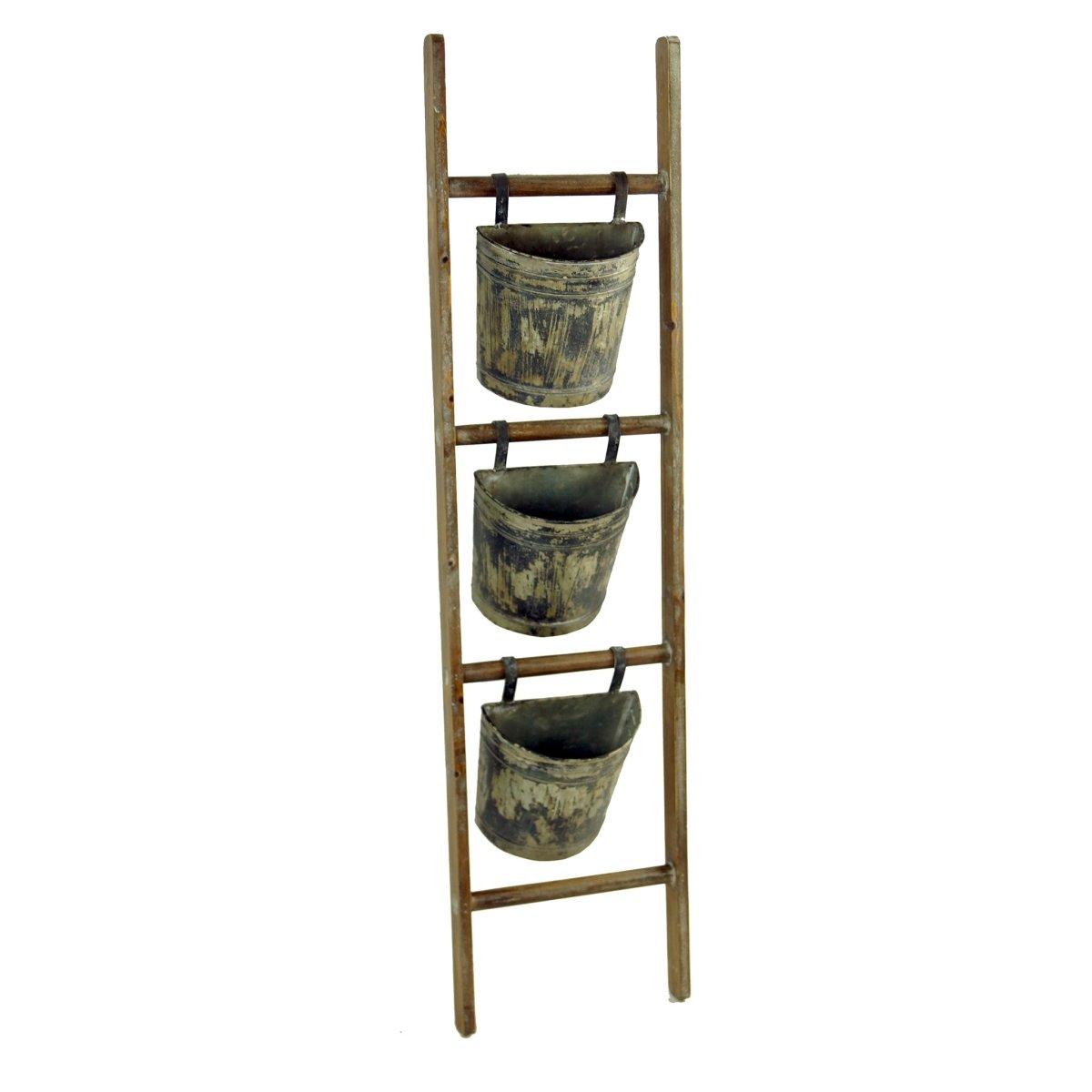 VIP Home Garden FH1616 Garden Metal Ladder Planter Light Brown Gray by VIP Home Garden