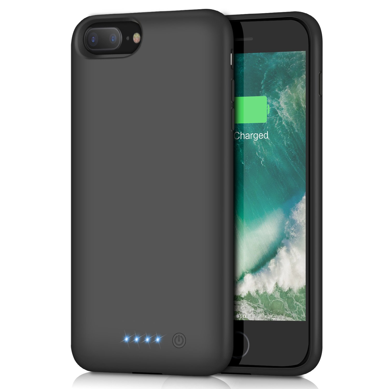 iPhone 8 Plus/7 Plus Battery Case 8500mAh, HETP Rechargeable Extended Battery Pack for iPhone 7Plus 8Plus Charging Case Apple Portable Power Bank (5.5 inch) - Black by HETP (Image #1)