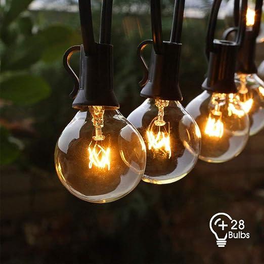 Cadena de Luces Exterior, FOCHEA Guirnalda Luces con 3 G40 Bombilla de Repuesto para Patio, Jardín, Fiesta, Bodas, Navidad: Amazon.es: Iluminación