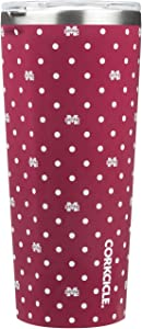 Corkcicle  Tumbler - 24oz NCAA Triple Insulated Stainless Steel Travel Mug, Mississippi State Bull Dogs, Polka Dot