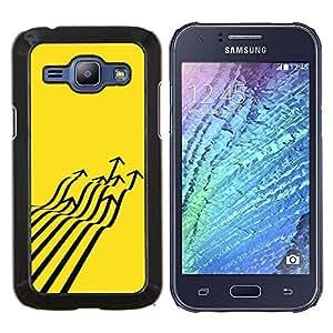 Planetar® ( Avión de combate Flecha Arte abstracto amarillo ) Samsung Galaxy J1 J100 Fundas Cover Cubre Hard Case Cover