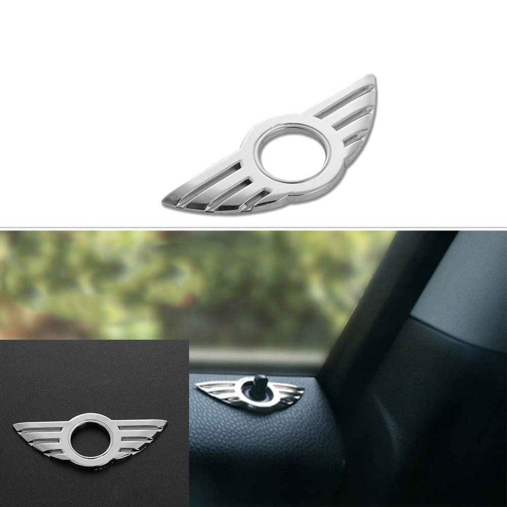 zhengming2 2Pcs Car Styling Insignia Emblem Wings Stickers Decoration Accessories For BMW Mini Cooper Door Lock Knobs
