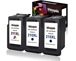 Inktopia Remanufactured Ink Cartridges Replacement for Canon PG 210XL 210 XL & CL 211XL 211 XL 3 Pack (2 Black, 1 Color) PIXM