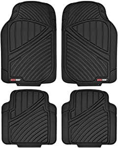 Motor Trend FlexTough Standard - 4pc Set Heavy Duty Rubber Floor Mats for Car SUV Van & Truck (Black) (MT-774-BK_AMJAN)