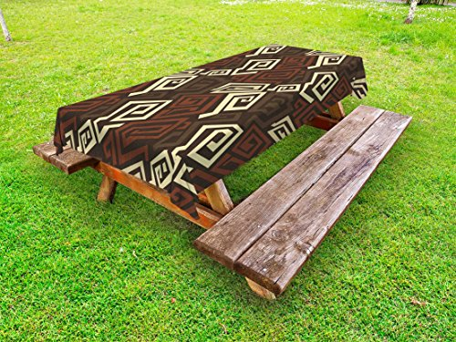 Ambesonne Grunge Outdoor Tablecloth, Ancient Indigenous Design with Grunge Effect Twisted Lines Geometric Folk, Decorative Washable Picnic Table Cloth, 58 X 120 inches, Brown Cinnamon Ivory from Ambesonne