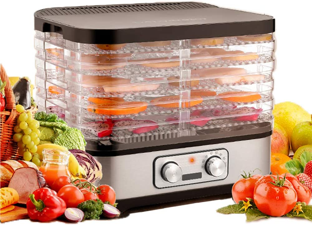 Electric Food Dehydrator Machine, Temperature Control Professional Multi-Tier Kitchen Food Appliances, Food Dehydrator for Beef Jerky Maker, Fruits and Vegetable Dryer with 5 / 7 Stackable Trays, High-Heat Circulations (5 Tier Variable Height)