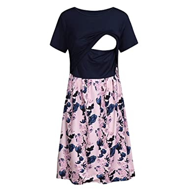 8bc9ae204c000 Amazon.com: Maternity Pregnant Dress Maternity Patchwork Short Sleeve Dress  Summer Nursing/Breastfeeding Floral Print Casual Dress: Clothing